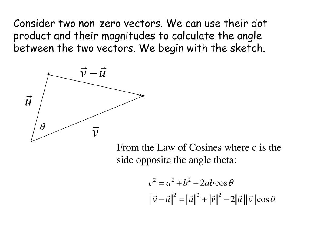 Consider two non-zero vectors. We can use their dot product and their magnitudes to calculate the angle between the two vectors. We begin with the sketch.