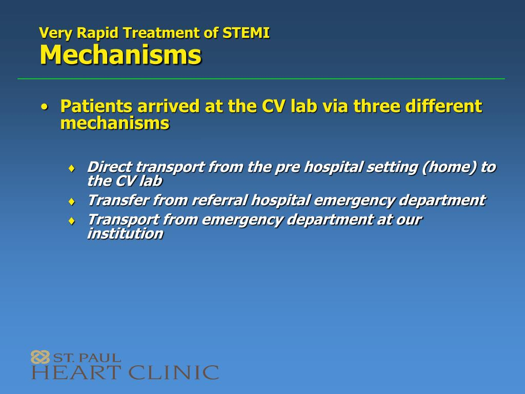 Very Rapid Treatment of STEMI