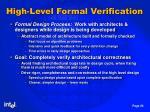 high level formal verification
