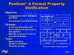 pentium 4 formal property verification