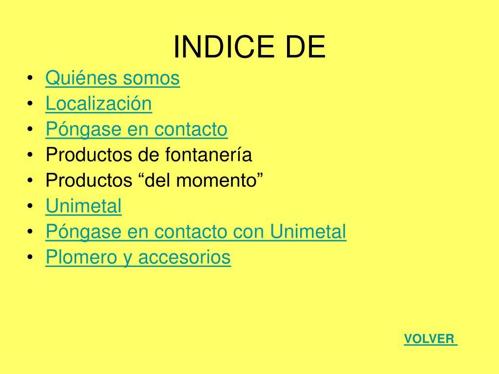INDICE DE