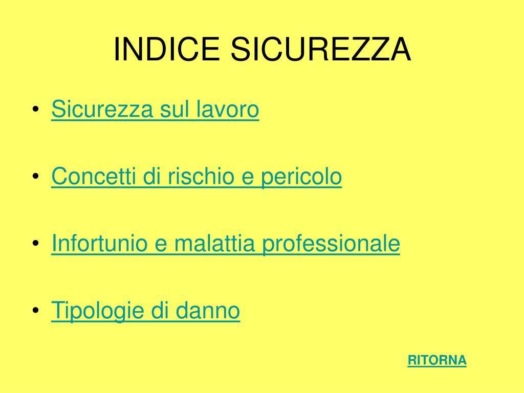 INDICE SICUREZZA