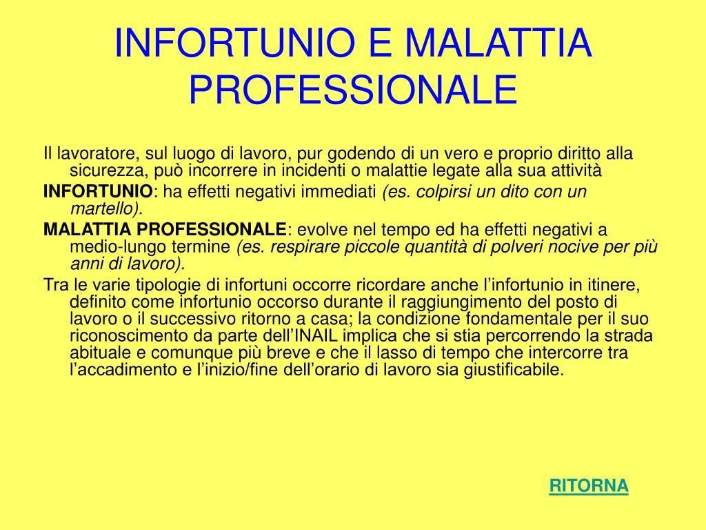 INFORTUNIO E MALATTIA