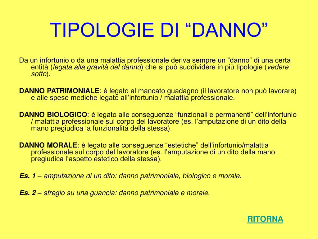 """TIPOLOGIE DI """"DANNO"""""""