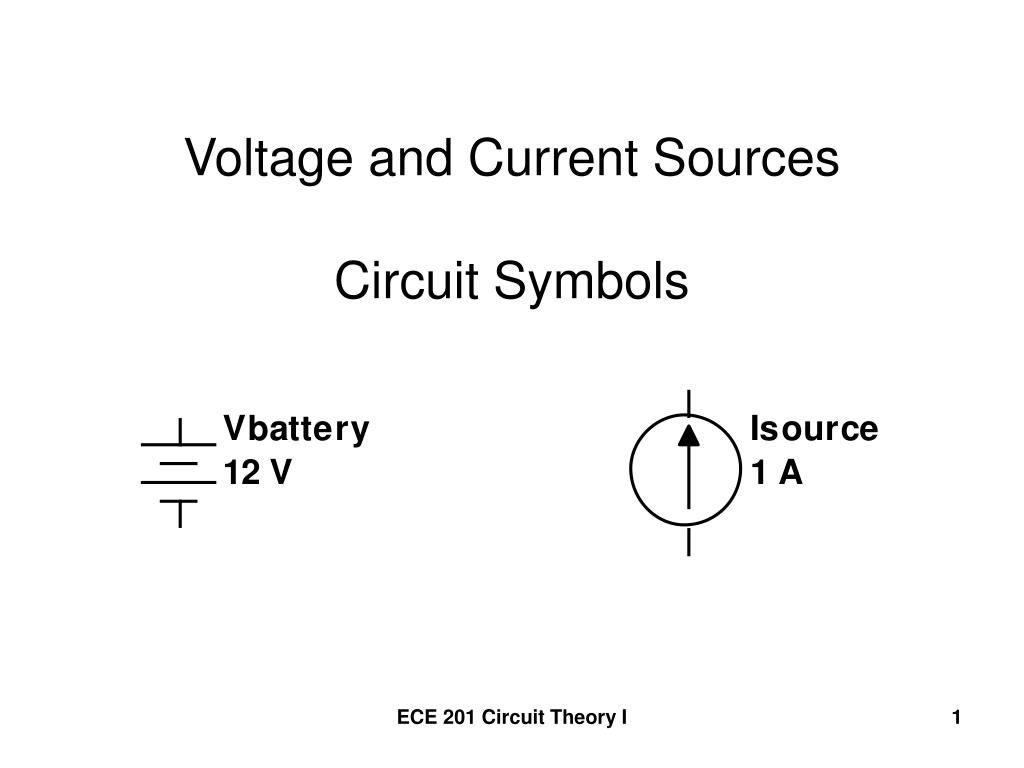 voltage and current sources circuit symbols
