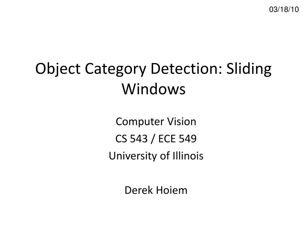 object category detection sliding windows