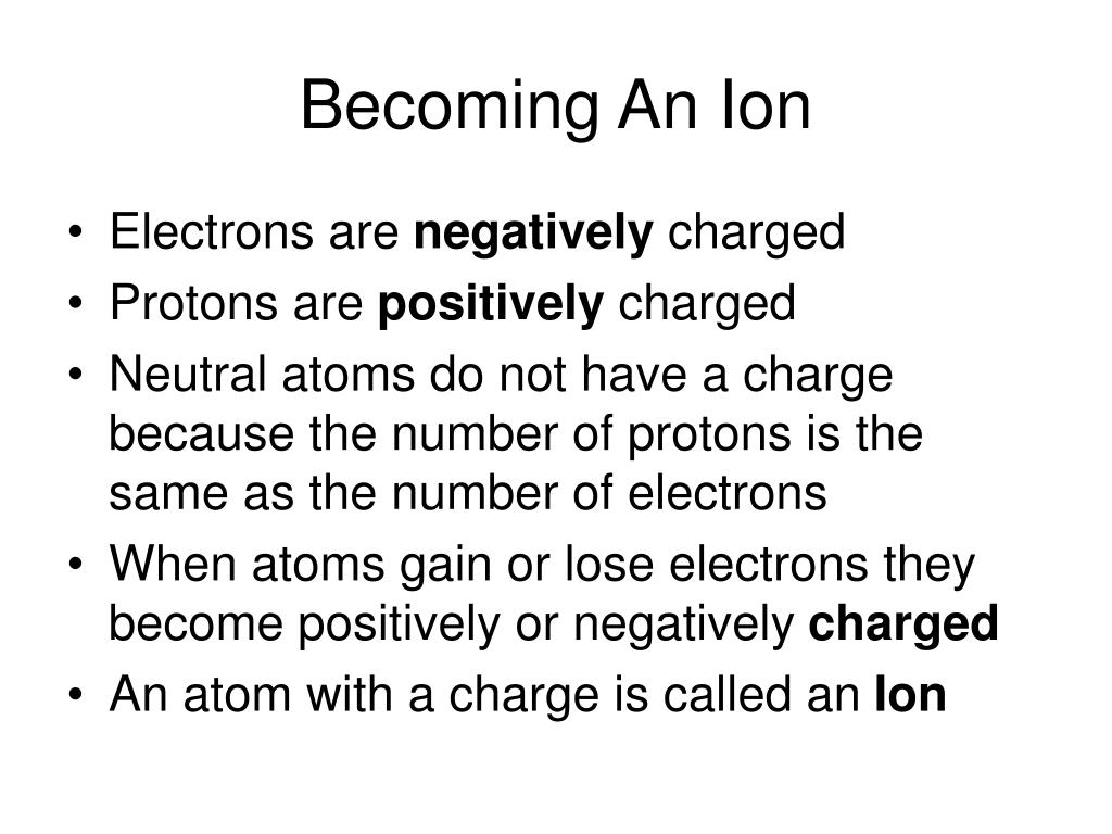 Becoming An Ion