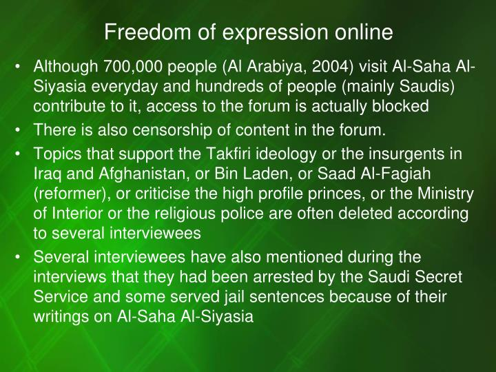 Freedom of expression online