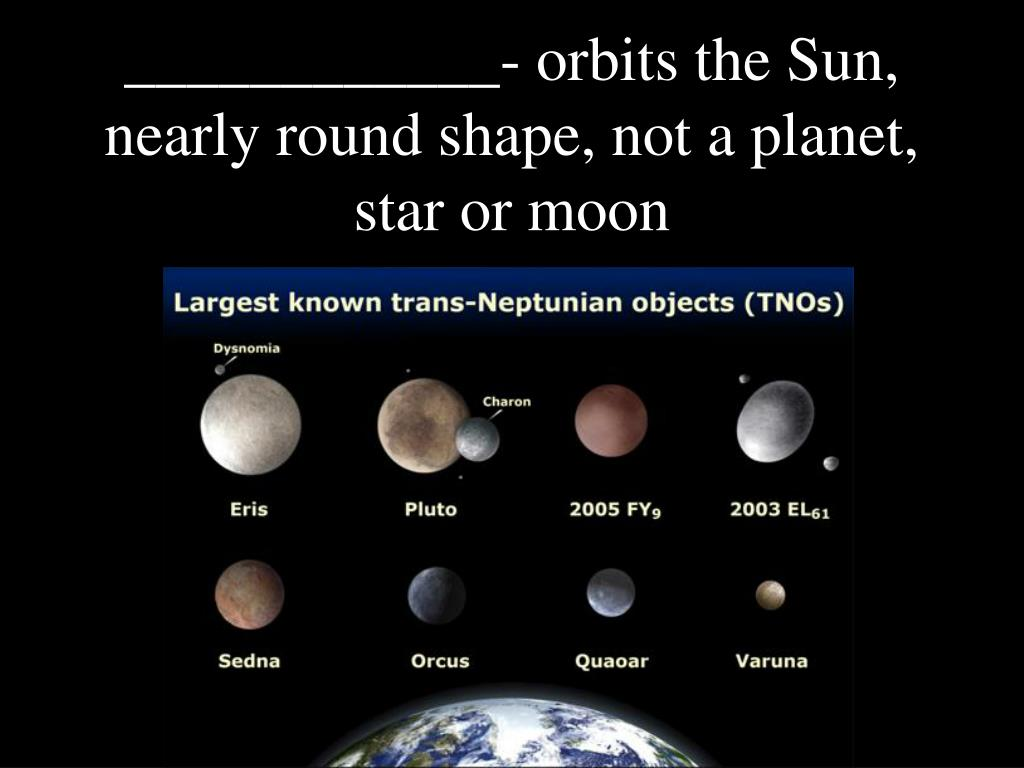 ____________- orbits the Sun, nearly round shape, not a planet, star or moon
