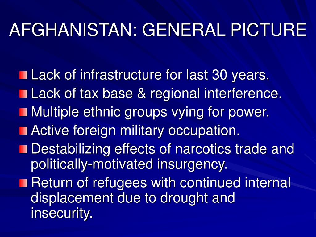 AFGHANISTAN: GENERAL PICTURE