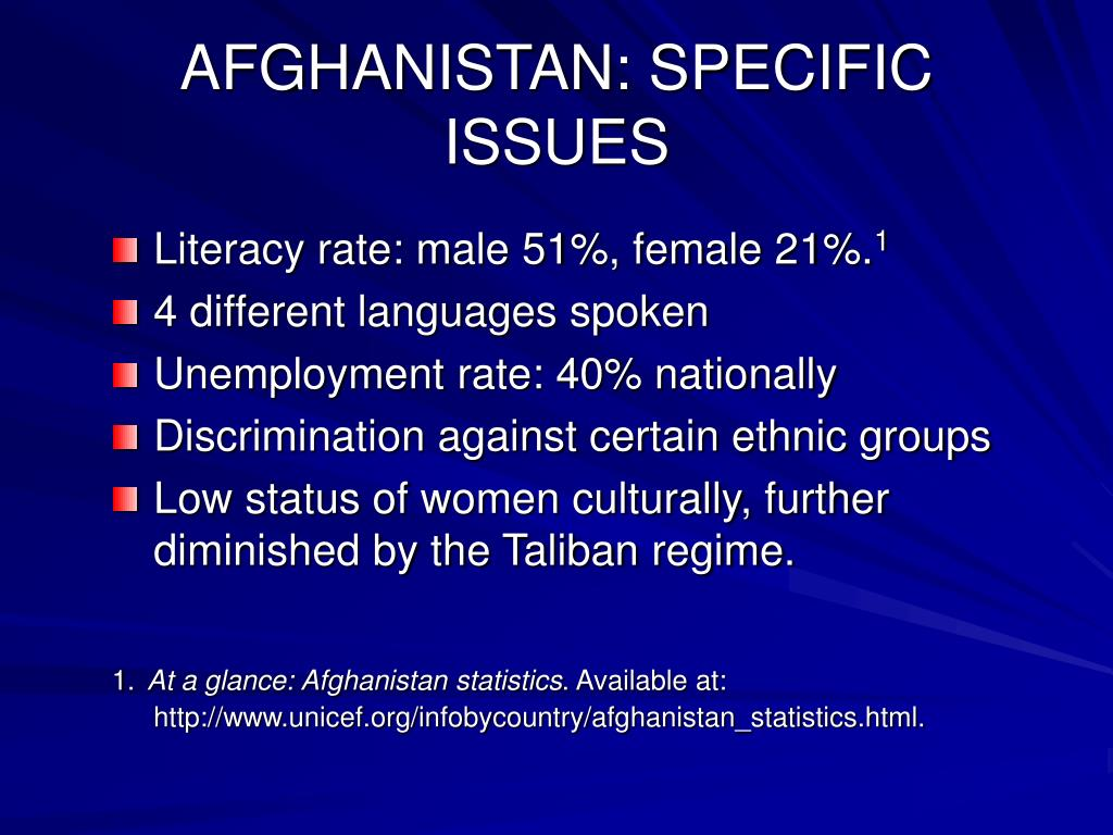 AFGHANISTAN: SPECIFIC ISSUES