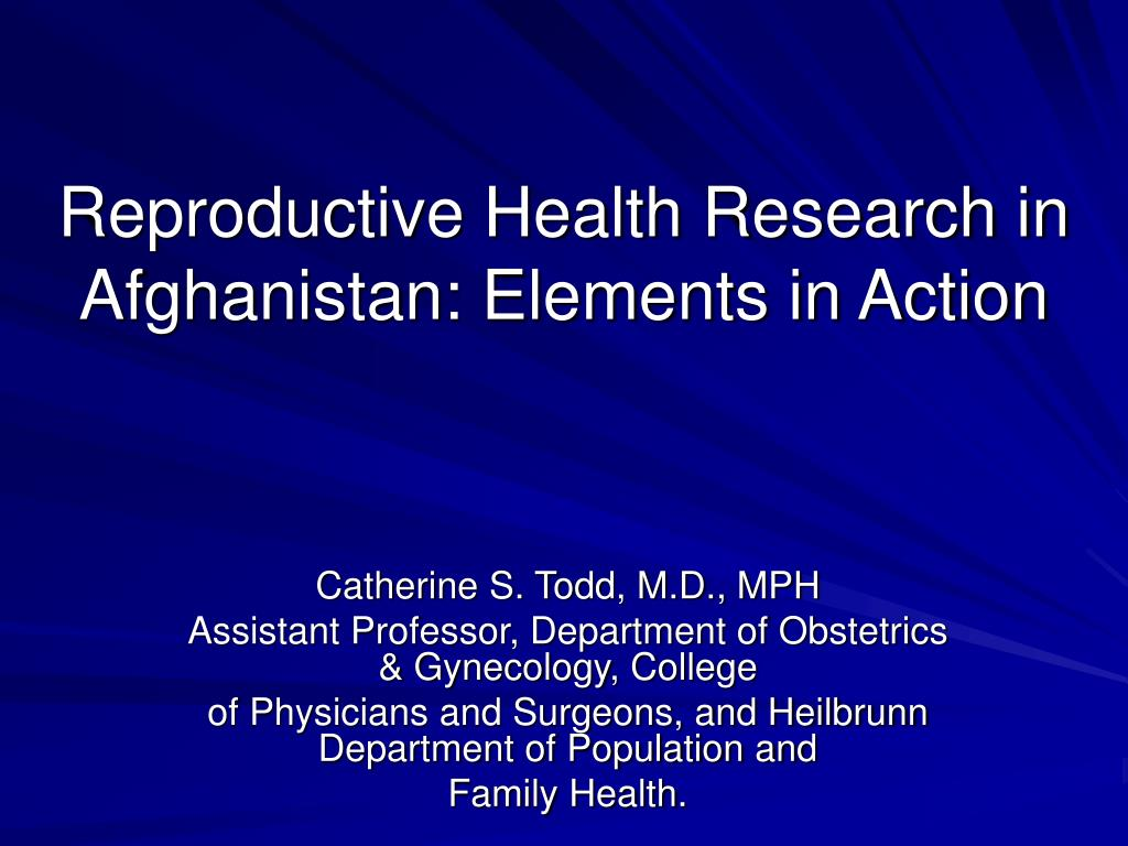 Reproductive Health Research in Afghanistan: Elements in Action