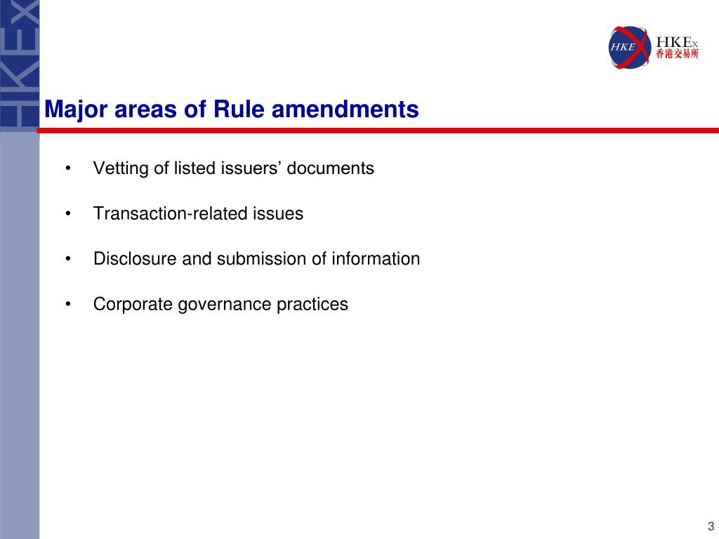 Major areas of Rule amendments