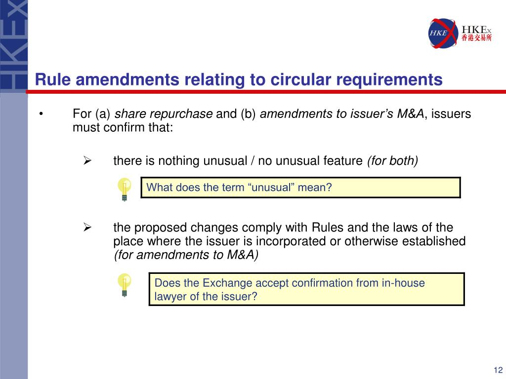 Rule amendments relating to circular requirements