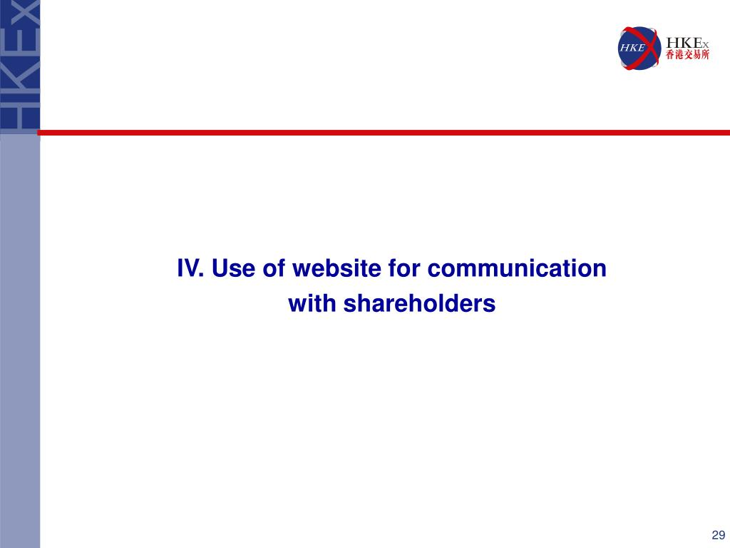 IV. Use of website for communication