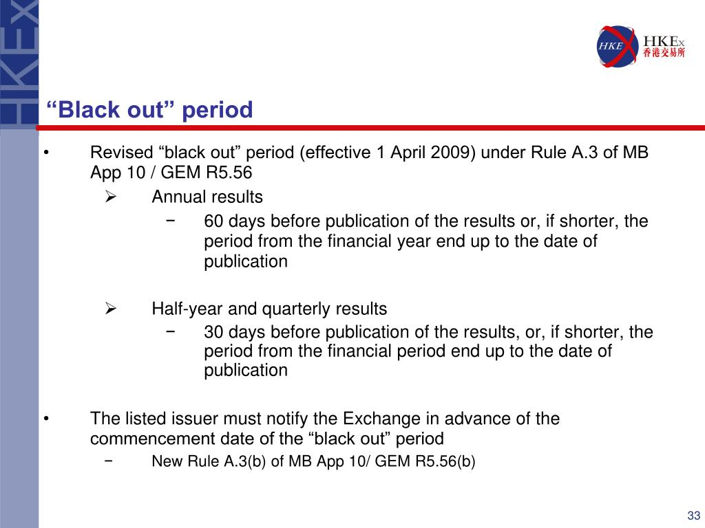 "Revised ""black out"" period (effective 1 April 2009) under Rule A.3 of MB App 10 / GEM R5.56"
