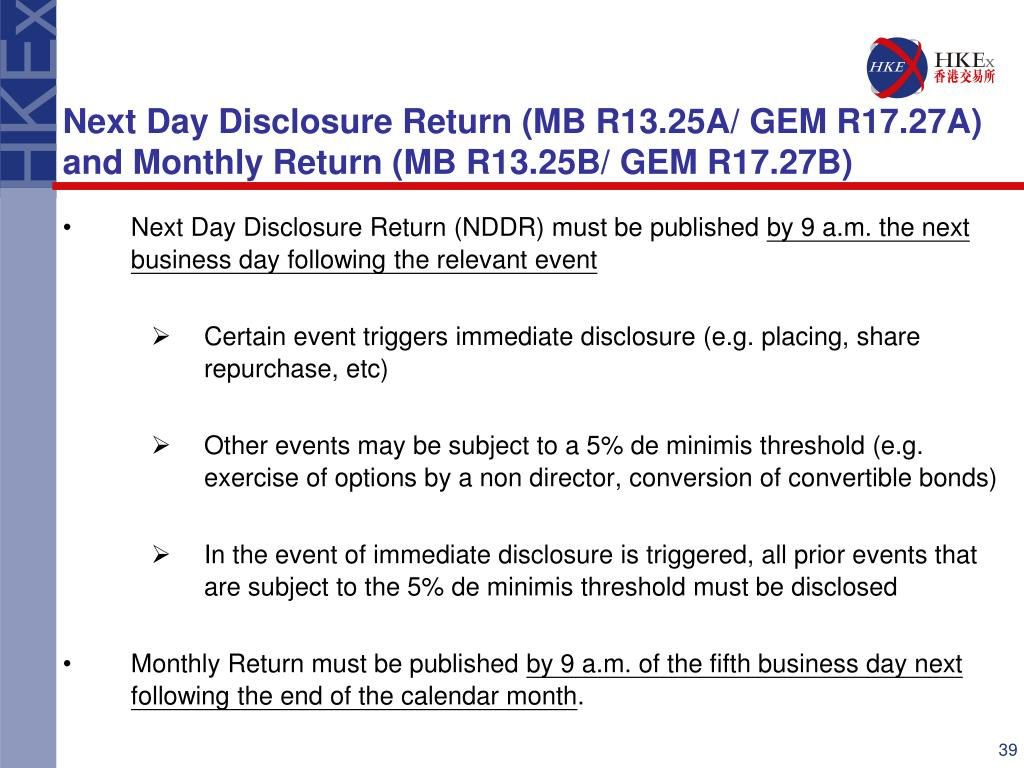 Next Day Disclosure Return (NDDR) must be published