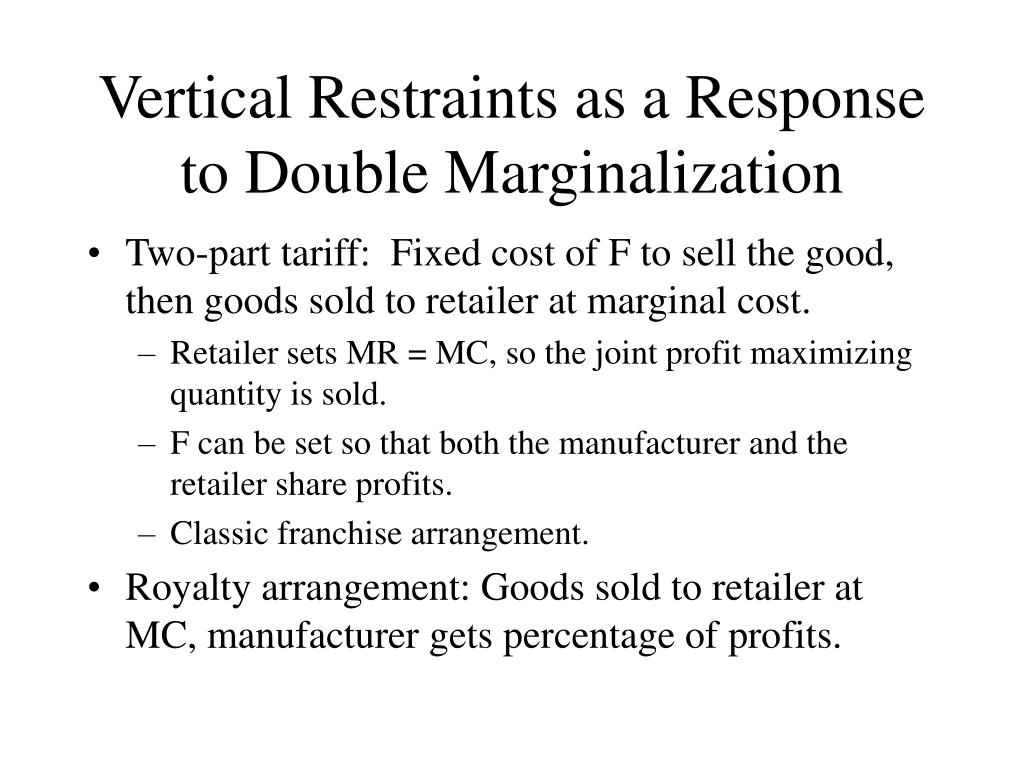 Vertical Restraints as a Response to Double Marginalization