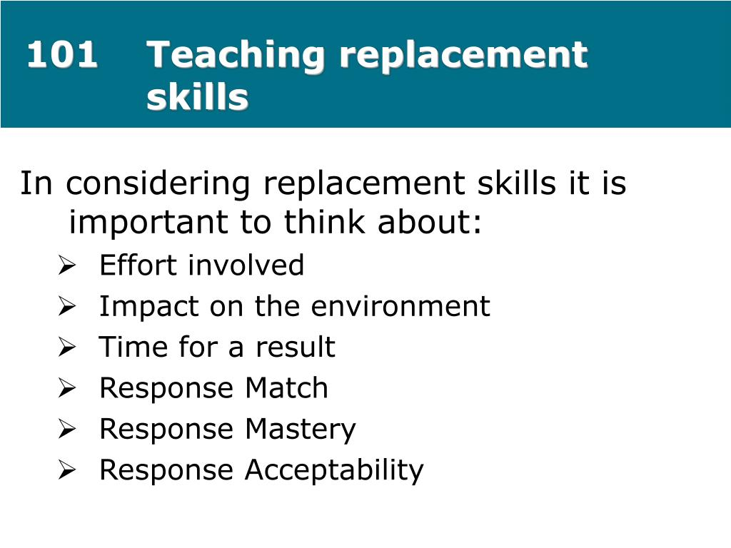 101Teaching replacement skills