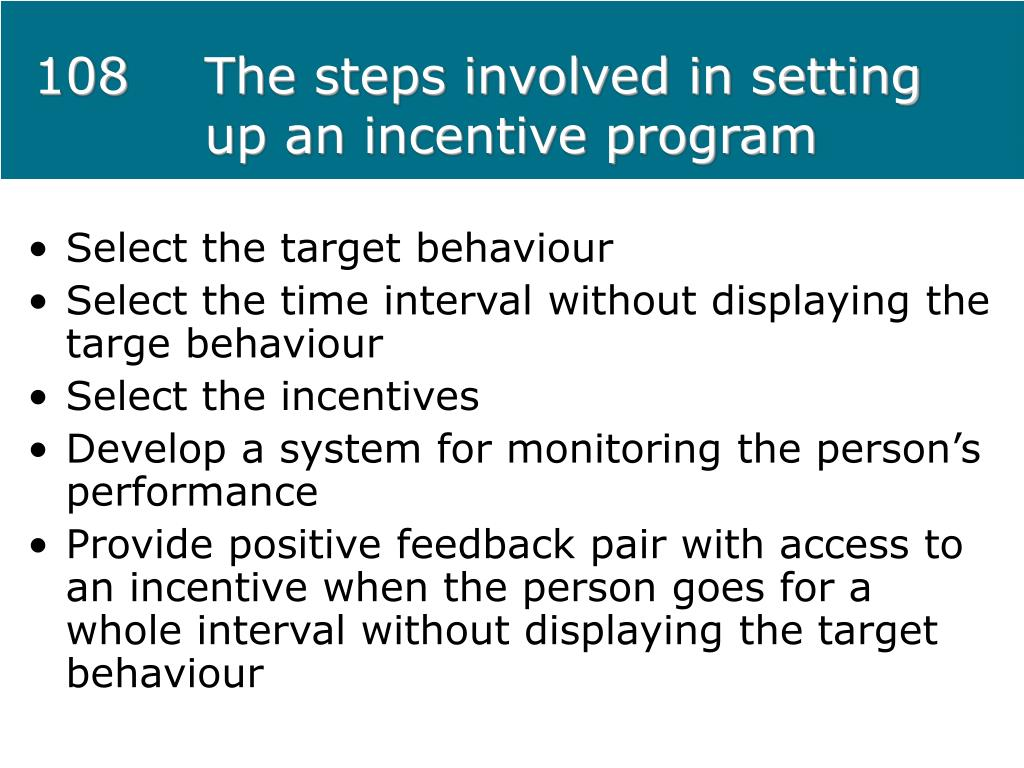108The steps involved in setting up an incentive program