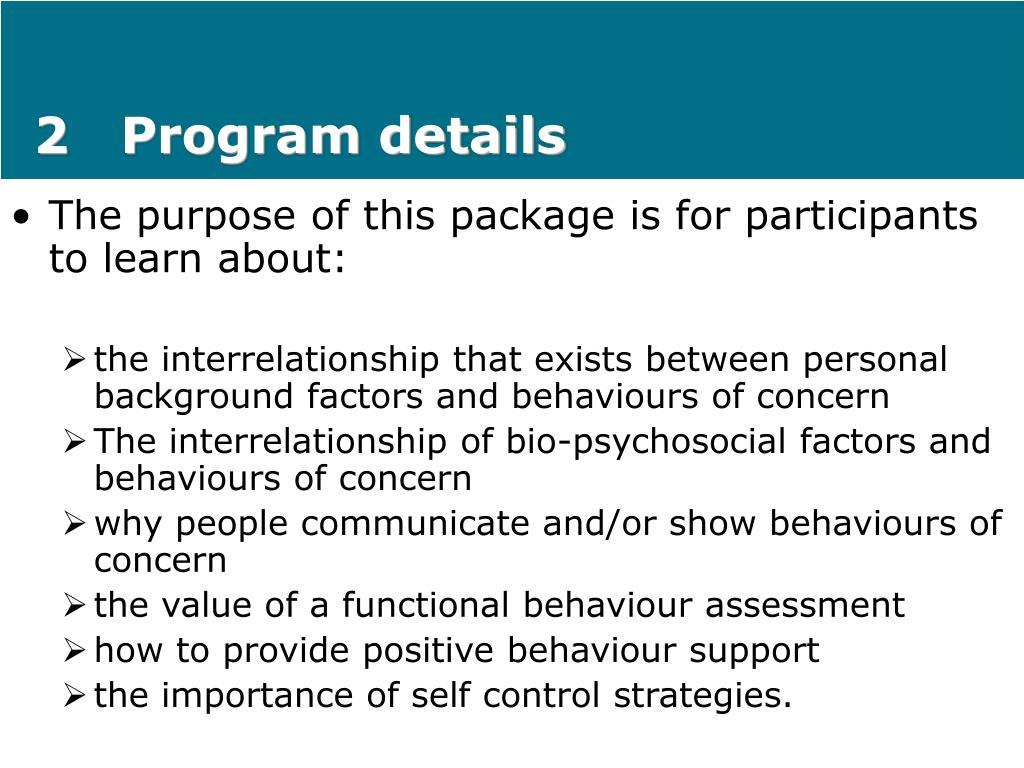 2   Program details
