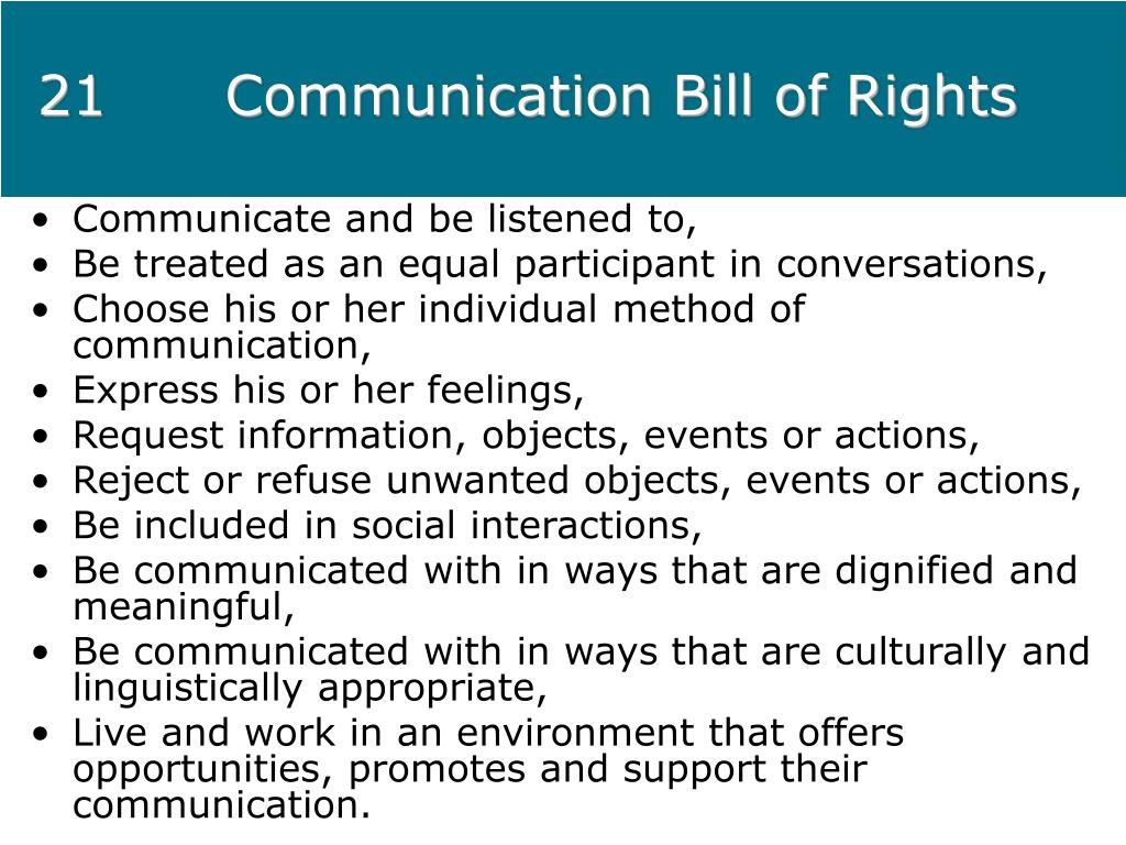 21Communication Bill of Rights