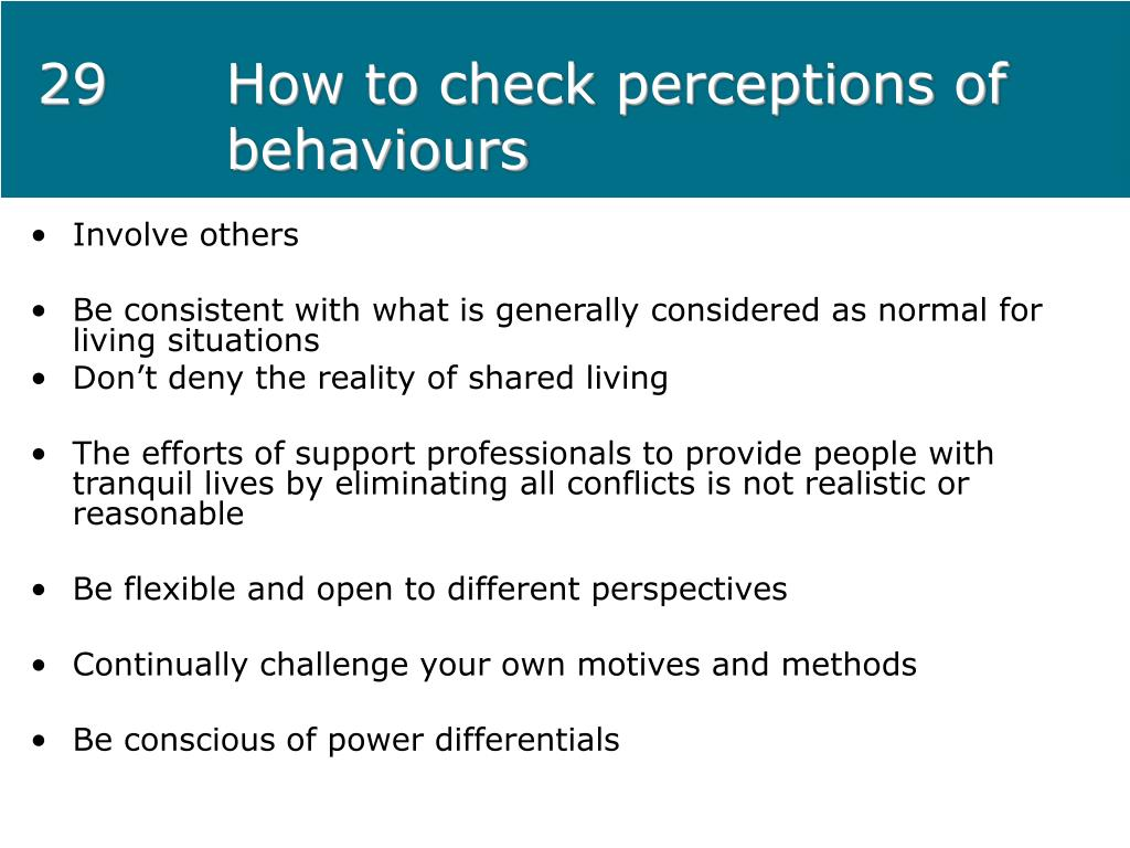 29How to check perceptions of behaviours