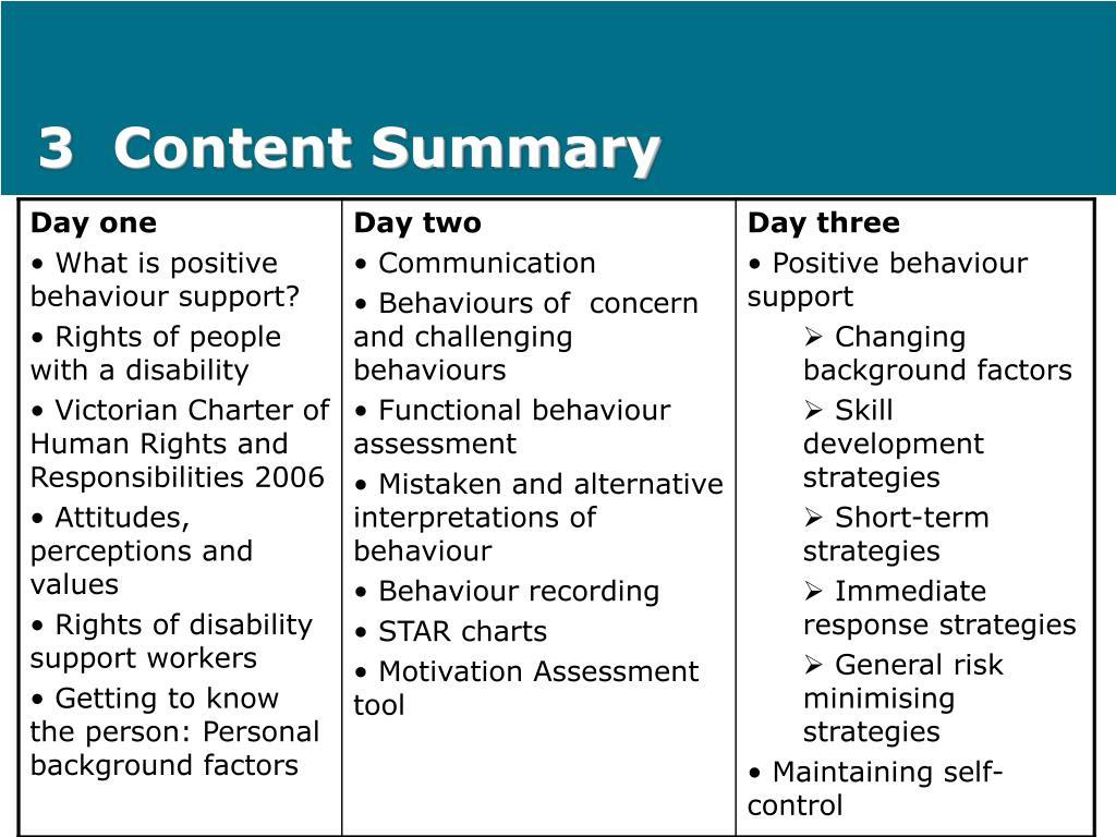 3  Content Summary
