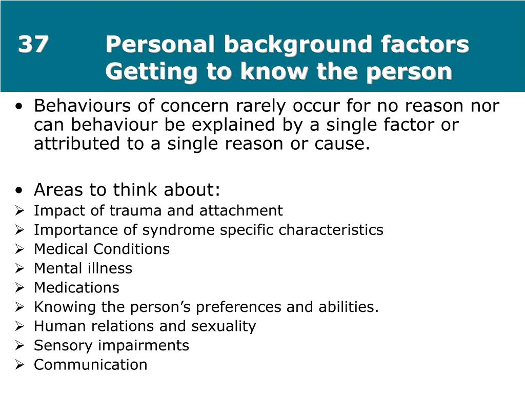 37Personal background factors