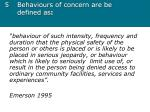 5 behaviours of concern are be defined as