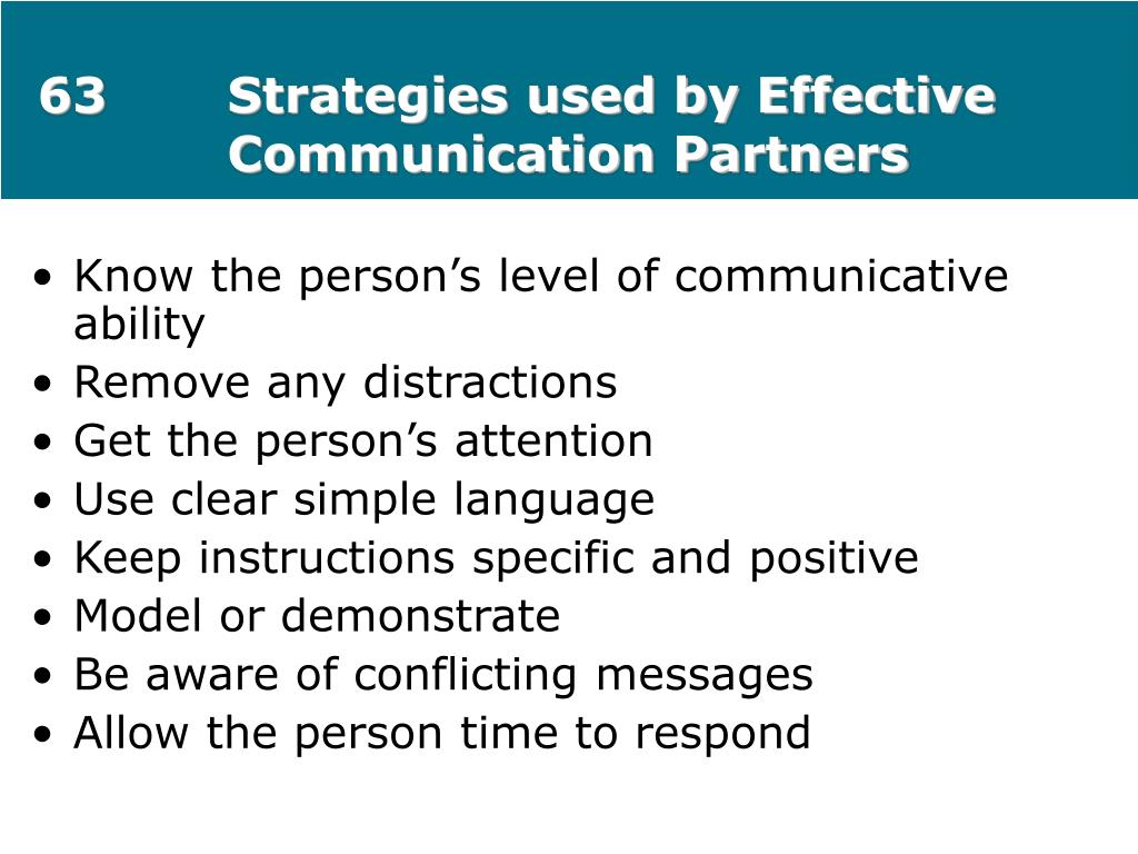 63Strategies used by Effective Communication Partners