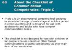 68 about the checklist of communication competencies triple c