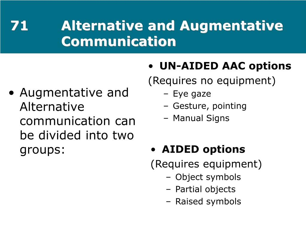 71Alternative and Augmentative Communication
