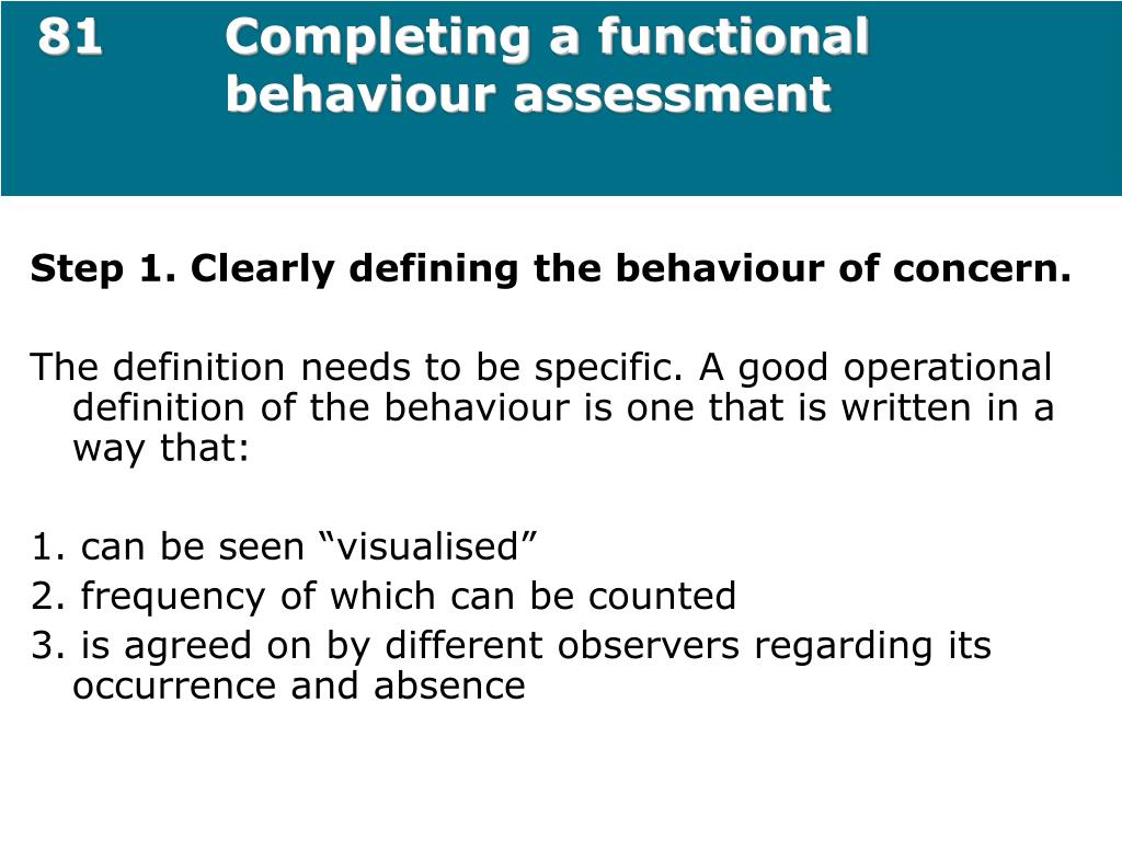 81Completing a functional behaviour assessment