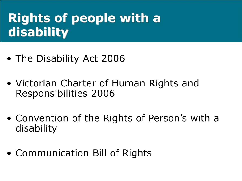 Rights of people with a disability
