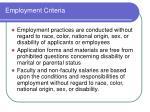 employment criteria