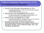 federal compliance requirements of the u s department of education