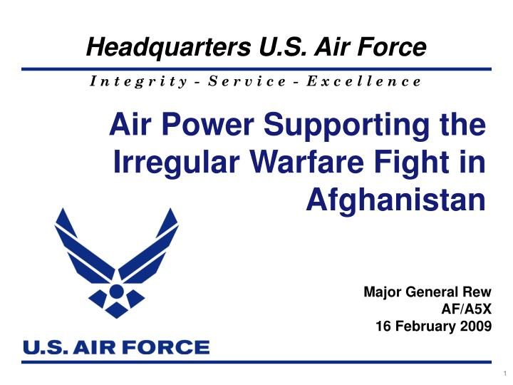 Air Power Supporting the Irregular Warfare Fight in Afghanistan
