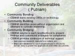 community deliverables putnam