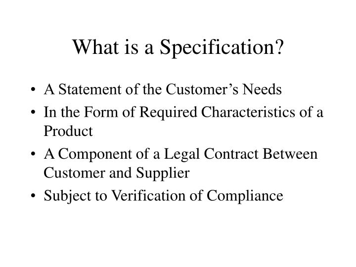 What is a specification