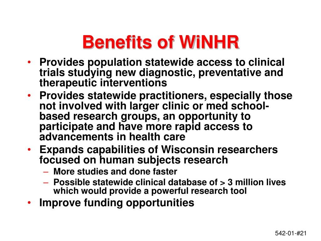 Benefits of WiNHR