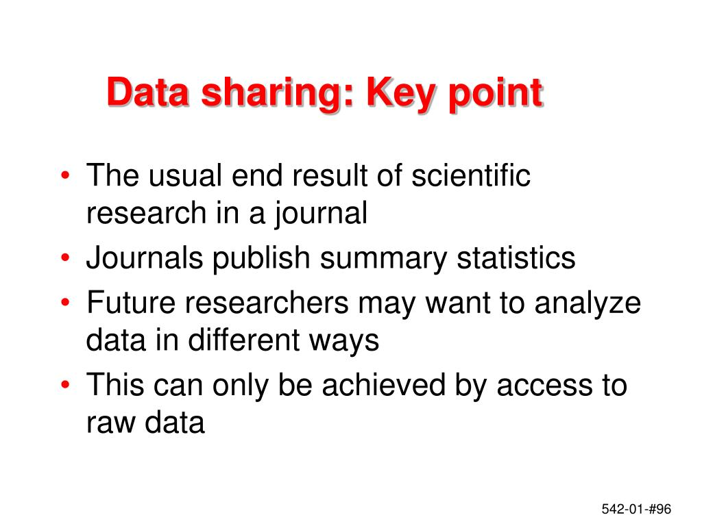 Data sharing: Key point