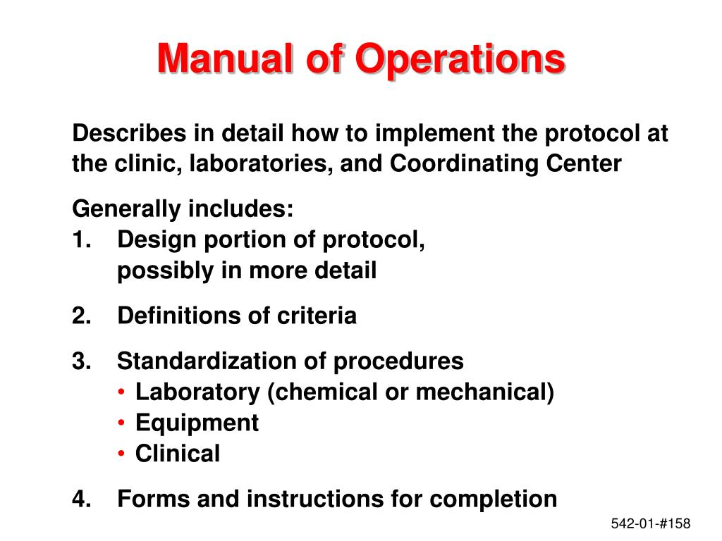 Manual of Operations