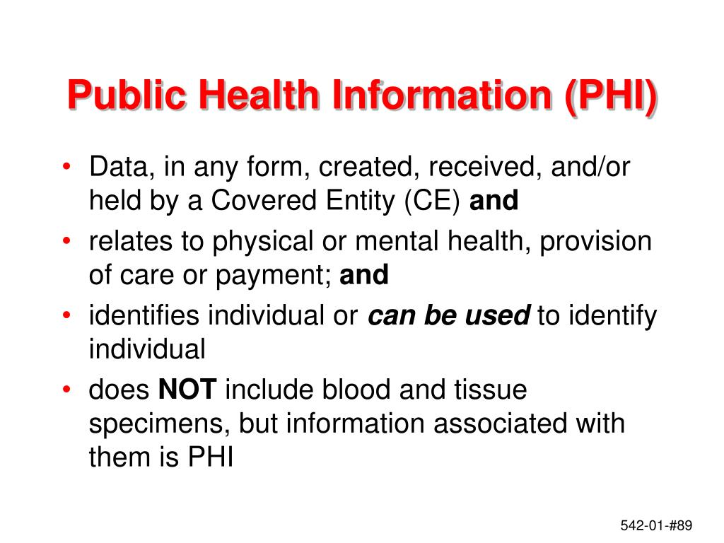 Public Health Information (PHI)