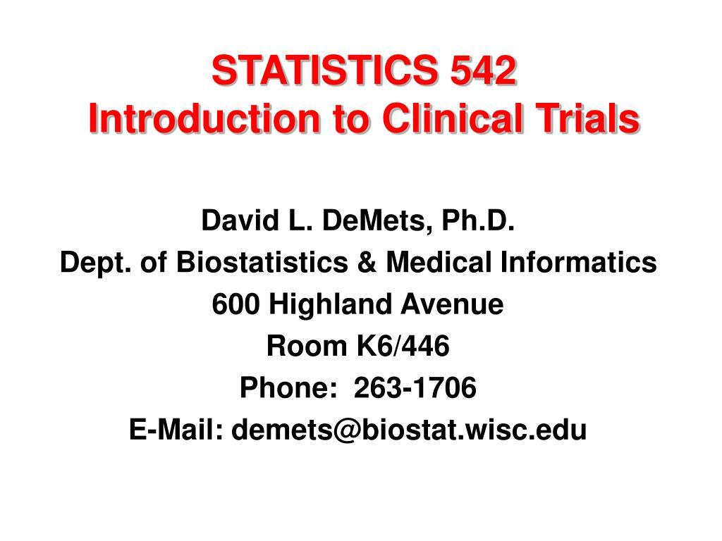 STATISTICS 542