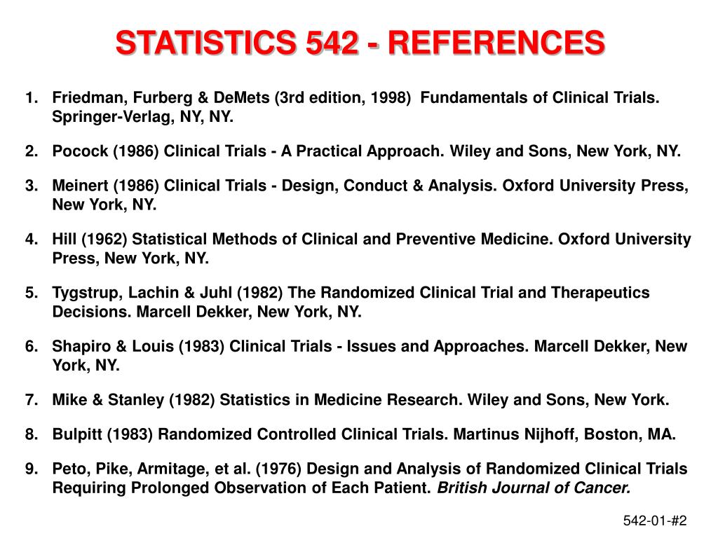 STATISTICS 542 - REFERENCES