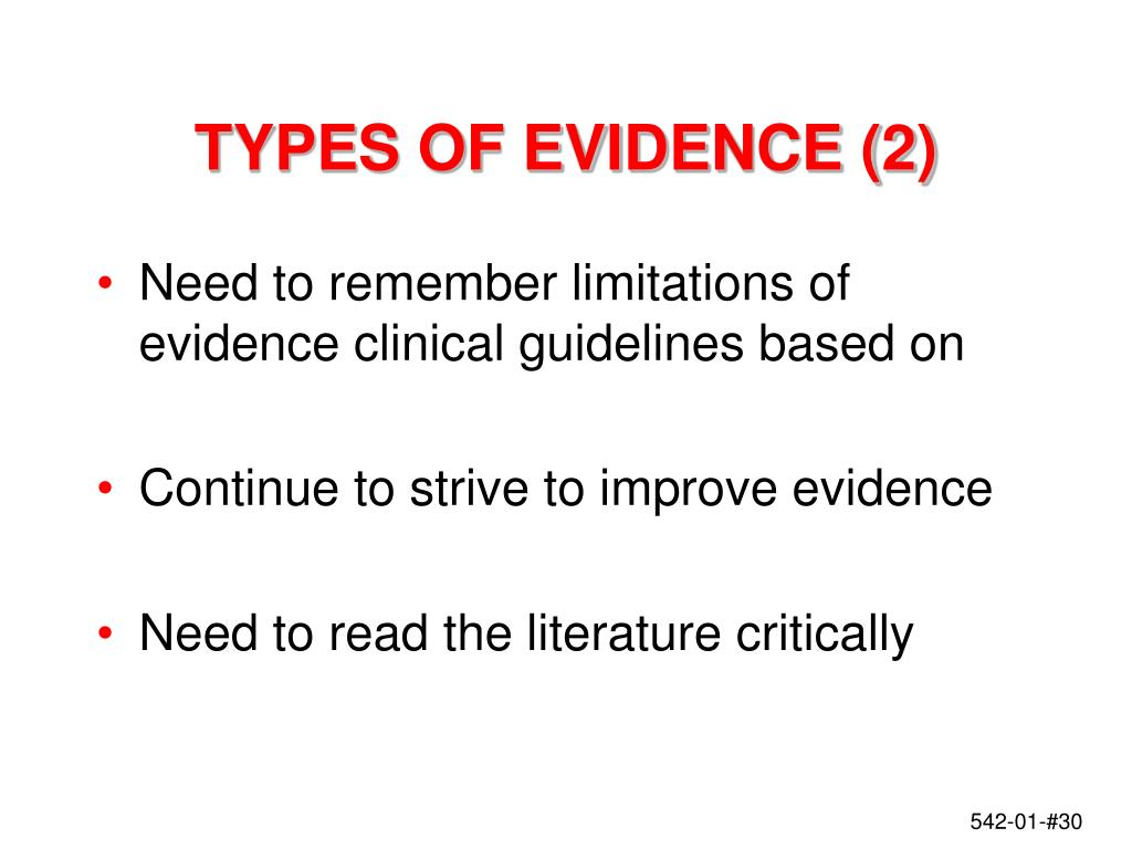 TYPES OF EVIDENCE (2)