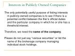 interests in publicly owned companies41