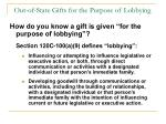 out of state gifts for the purpose of lobbying77