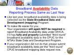 broadband availability data reporting process same as last year